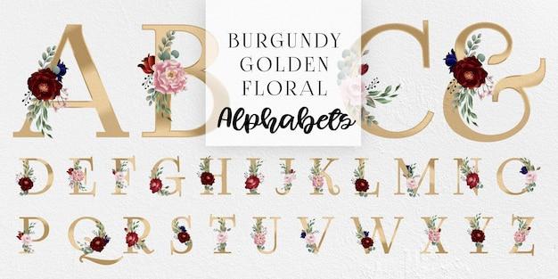 Borgogna e arrossire alfabeti floreali dorati