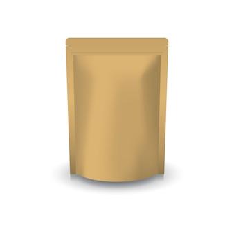 Borsa a cerniera in piedi di carta kraft marrone vuota.