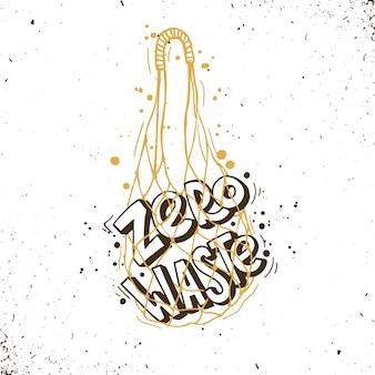 Borsa a rete. poster per persone che vivono uno stile di vita a rifiuti zero