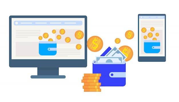 Borsa blu tra monitor e smartphone.
