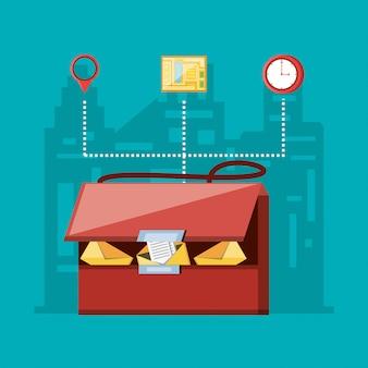 Borsa corriere con servizio logistico icone impostate