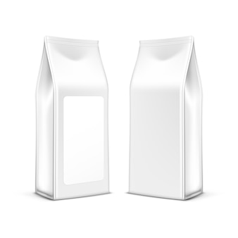 Borsa d'imballaggio del pacchetto del tè del caffè di vettore isolata su bianco