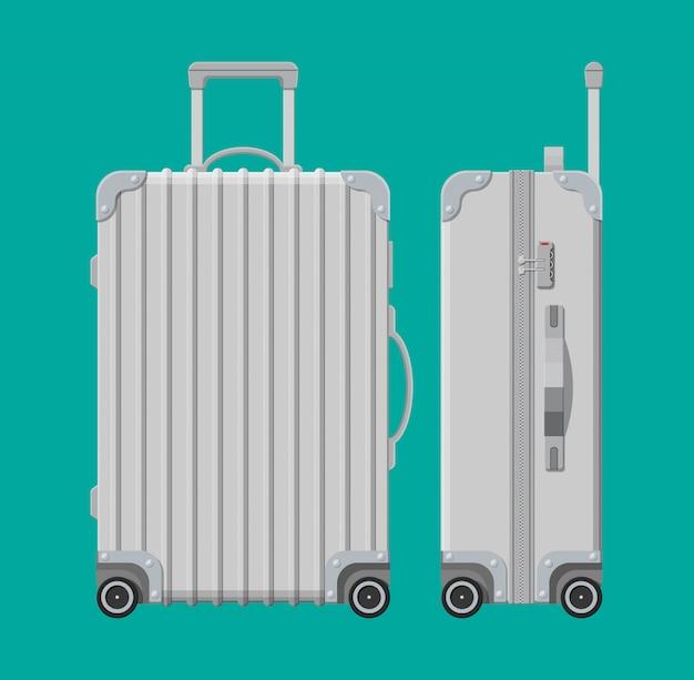 Borsa da viaggio argento. contenitore di plastica. carrello su ruote