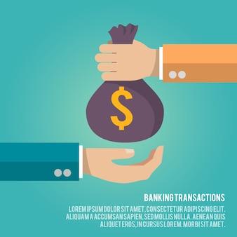 Borsa dei soldi che dà illustrazione con modello di testo. concetto di transazioni bancarie