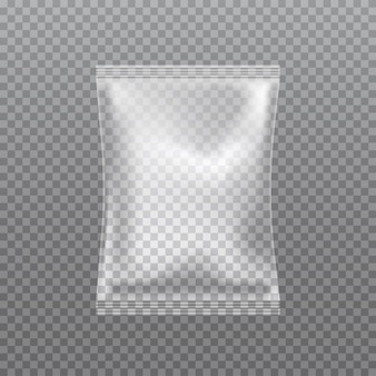 Borsa del cuscino trasparente realistico di vettore isolata su trasparente.