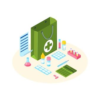 Borsa della farmacia con l'illustrazione isometrica della lista di prescrizione.