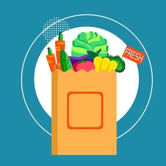 Borsa della spesa con verdure fresche cibo