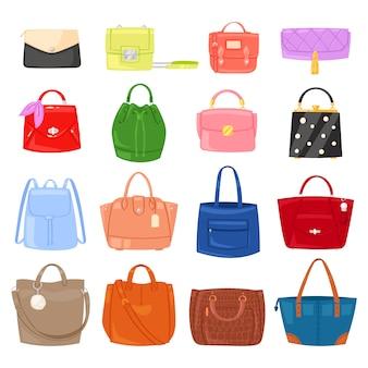 Borsa delle ragazze della borsa della donna o borsa e shopping-bag o frizione dall'illustrazione del negozio di moda gonfia