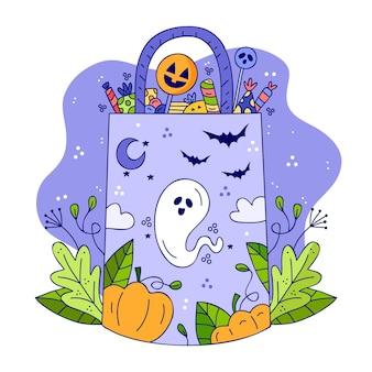 Borsa di halloween disegnata a mano