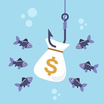 Borsa di soldi sul gancio di pesca