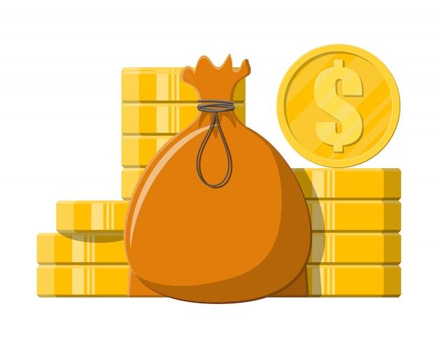 Borsa di stoffa con soldi. pile di monete d'oro.