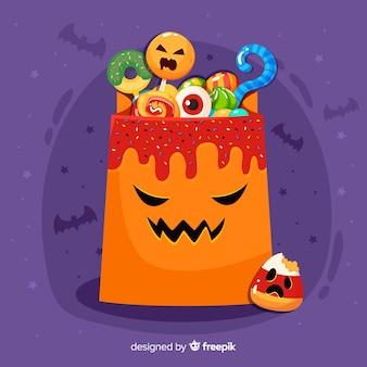 Borsa di zucca di halloween disegnata a mano