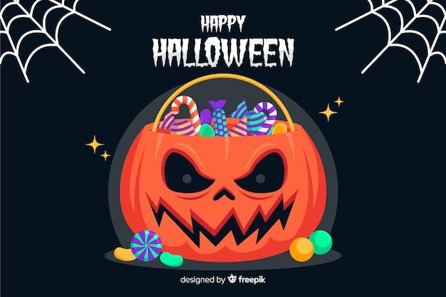 Borsa di zucca diabolica halloween sfondo su design piatto