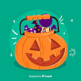 Borsa di zucca intagliata halloween disegnata a mano