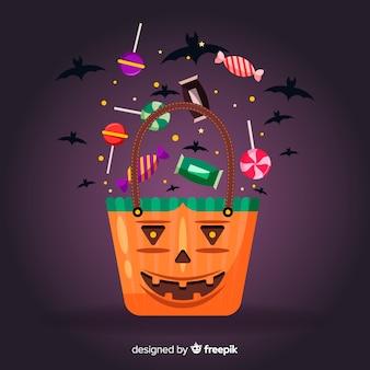 Borsa di zucca per halloween e uccelli neri
