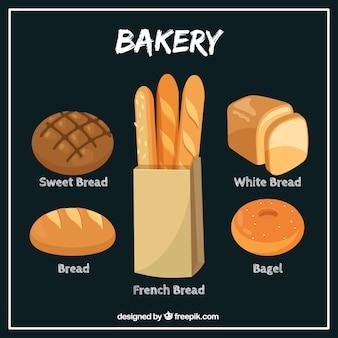Borsa disegnata a mano con baguettes e pane