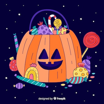Borsa disegnata a mano sveglia della zucca di halloween