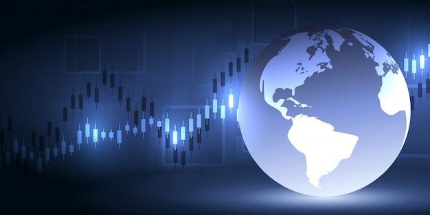 Borsa e borsa. grafico dei dati finanziari. concetto economico di analisi dei grafici. rapporti e investimento di concetto di affari su fondo scuro.