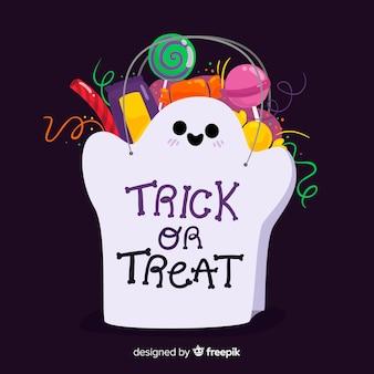 Borsa fantasma di halloween con design piatto