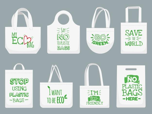 Borsa in tessuto ecologico. di 'no ai sacchetti di plastica, allo slogan sul divieto dei rifiuti in politene e all'illustrazione della borsa della spesa in tessuto