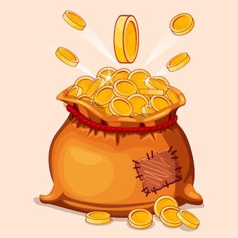 Borsa piena di cartoni animati di monete d'oro