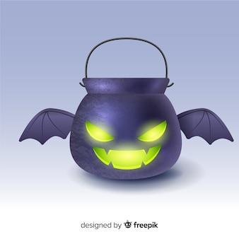 Borsa pipistrello piatta nera di halloween