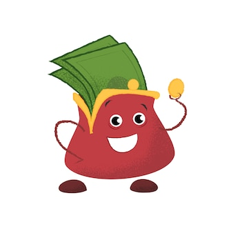 Borsa sorridente felice. soldi, risparmi, finanze.