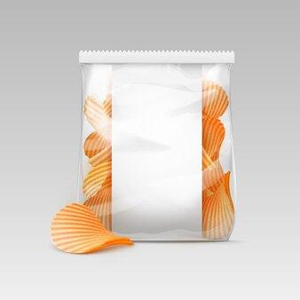 Borsa trasparente bianca con patatine fritte ondulate