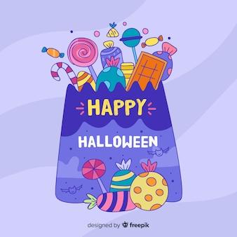 Borsa viola di halloween disegnata a mano