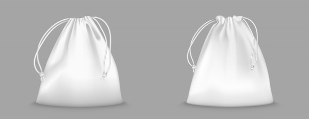 Borsa zaino con coulisse isolato su sfondo trasparente. modello realistico di custodia da scuola per vestiti e scarpe, zaini bianchi sportivi completi con stringhe