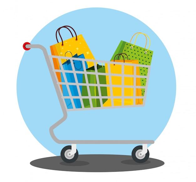 Borse della spesa all'interno del carrello al prezzo di vendita