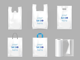 Borse della spesa in plastica bianca
