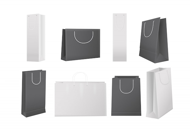 Borse per la spesa in carta. insieme isolato realistico sacchetti della spesa del cartone bianco e nero