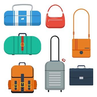 Borse, valigia e zaino di colore piatto.