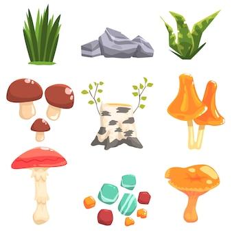 Bosco paesaggi elementi naturali, piante e funghi