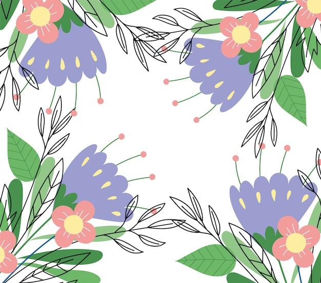 Botanica selvaggia dell'erba organica del fogliame floreale floreale dei fiori lilla