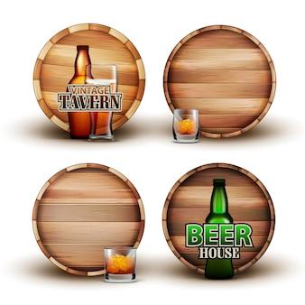 Botte di legno con bottiglia e vetro
