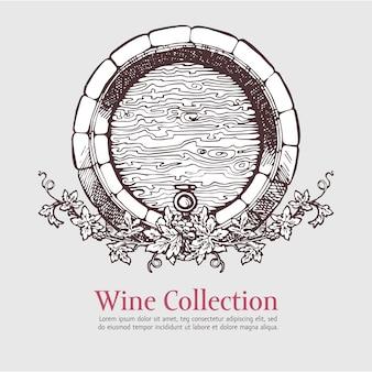 Botte di vino con ghirlanda di uva.