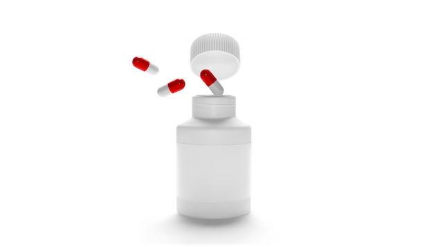 Bottiglia aperta d'imballaggio in bianco della medicina di plastica con il cappuccio per le pillole isolate. integratori bio o vitamine. bottiglia di plastica realistica. modello. farmacia, compresse, pillole.