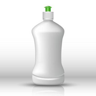 Bottiglia bianca di detersivo per piatti con tappo verde. icona illustrazione su sfondo bianco.