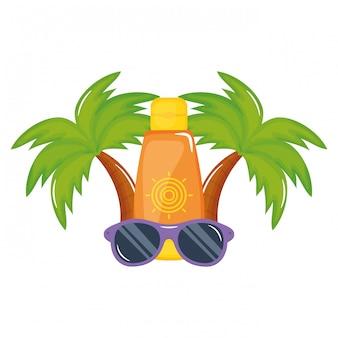 Bottiglia con blocco solare con accessorio per occhiali da sole