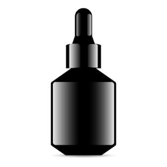 Bottiglia con contagocce in vetro nero. contenitore per flaconi medici