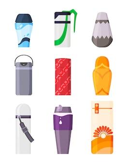 Bottiglia con set di illustrazione di caffè o tè bevanda calda