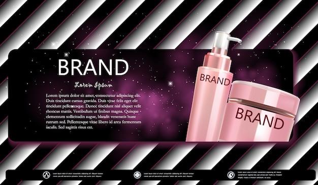 Bottiglia cosmetica di crema o banner di siero