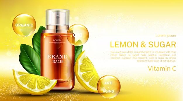 Bottiglia cosmetica di vitamina c con limone e zucchero