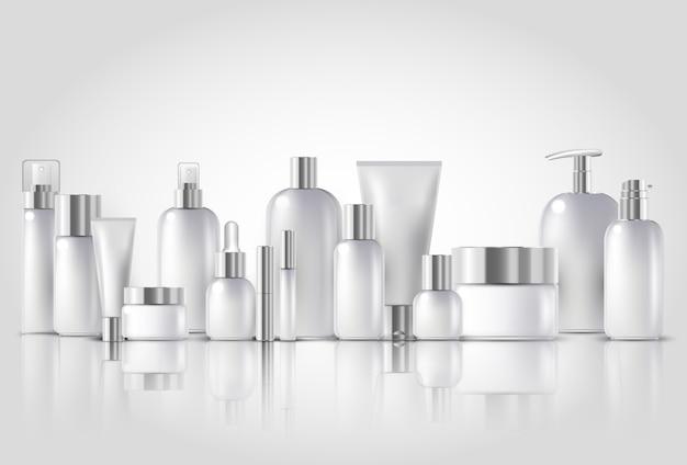Bottiglia cosmetica mock up set pacchetti isolati