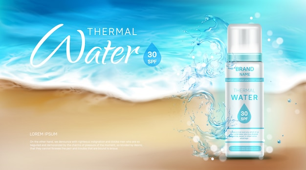 Bottiglia cosmetica per acqua termale con banner pubblicitario spf