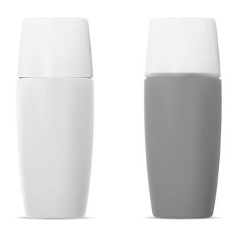 Bottiglia cosmetica protezione solare. set realistico 3d.
