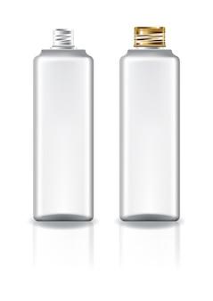 Bottiglia cosmetica quadrata bianca con coperchio a vite in oro per prodotti di bellezza o salutari.