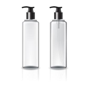 Bottiglia cosmetica quadrata bianca e trasparente con pompetta nera.